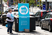 A Brexit Party supporter canvasses for the upcoming European elections on the street in Dagenham Heathway, London, England on May 04, 2019.  Britain must hold European elections on May 23 or leave the European Union with no deal on June 01 after Brexit was delayed until  October 31 2019 after Prime Minister, Theresa May failed to get her Brexit deal approved by Parliament.