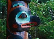 Totem pole in Sitka spruce forest, Sitka National Historical Park, Baranof Island, Southeast Alaska.