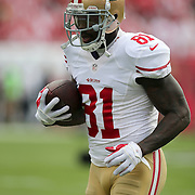 San Francisco 49ers wide receiver Anquan Boldin (81) is seen during an NFL football game between the San Francisco 49ers  and the Tampa Bay Buccaneers on Sunday, December 15, 2013 at Raymond James Stadium in Tampa, Florida.. (Photo/Alex Menendez)
