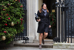 London, UK. 18th December, 2018. Caroline Nokes MP, Secretary of State for Immigration, leaves 10 Downing Street following the final Cabinet meeting before the Christmas recess. Topics discussed were expected to have included preparations for a 'No Deal' Brexit.