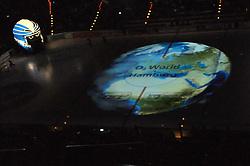 07.10.2011,  O2 World, Hamburg, GER, DEL, Hamburg Freezers vs Eisbaeren Berlin, im Bild Feature Projektion der Erde auf das Logo der O2-World auf dem Eis. // during match at O2 World 2011/10/07, Hamburg  EXPA Pictures © 2011, PhotoCredit: EXPA/ nph/  Witke       ****** out of GER / CRO  / BEL ******