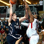 Anadolu Efes's Stanko Barac (L) during their Turkish Airlines Euroleague Basketball Top 16 Group E Game 4 match Anadolu Efes between Olympiacos at Sinan Erdem Arena in Istanbul, Turkey, Wednesday, February 08, 2012. Photo by TURKPIX