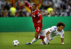 (L-R) Giorginio Wijnaldum of Liverpool FC, Marcelo of Real Madrid CF during the UEFA Champions League final between Real Madrid and Liverpool on May 26, 2018 at NSC Olimpiyskiy Stadium in Kyiv, Ukraine