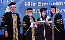 November 17, 2018 - Pakistan - KARACHI, PAKISTAN, NOV 18: Chief Guest Cardinal Bishop Joseph Coutts and .Sindh Minister for Women Development, Syeda Shehla Raza awarding certificates to students .during New Life Collage and Nursing Convocation Ceremony held in Karachi on Sunday, .November 18, 2018. (Credit Image: © PPI via ZUMA Wire)