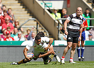 Picture by Andrew Tobin/Tobinators Ltd +44 7710 761829.26/05/2013.Kyle Eastmond of England scores his first try during the match between England and the Barbarians at Twickenham Stadium, Twickenham.
