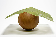 round wooden boll object covert with green paper weaving