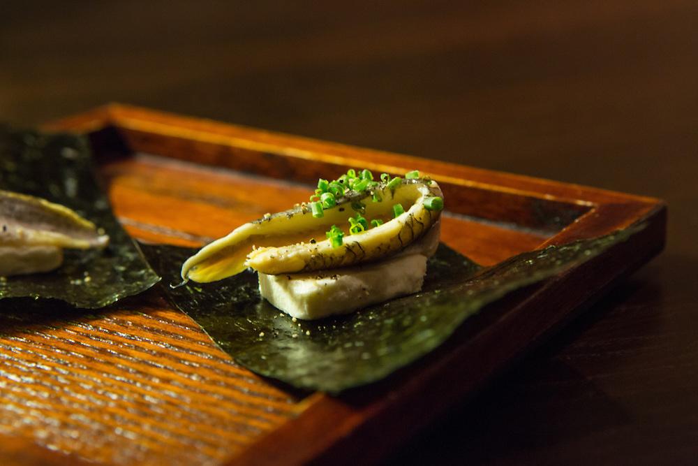 Cream cheese anchovy (Portuguese whie anchovy, miso-infused cream cheese, and Miyabi nori) at SakaMai.