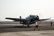 TBM-3 Avenger of the Erickson Aircraft Collection starting for a flight demonstration.