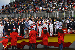 May 13, 2018 - Barcelona, Spain - Motorsports: FIA Formula One World Championship 2018, Grand Prix of Spain, .F1 drivers during national anthem  (Credit Image: © Hoch Zwei via ZUMA Wire)
