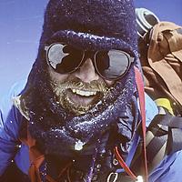 Himalayan mountaineer Jay Jensen experiences 100+mph winds at about 23,000' on Baruntse Peak, Nepal.