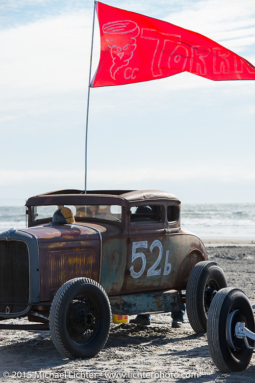 Pete Flavin's 1931 Ford Model A Coupe from Massachusettes on Saturday morning at the Race of Gentlemen. Wildwood, NJ, USA. October 10, 2015.  Photography ©2015 Michael Lichter.The Race of Gentlemen. Wildwood, NJ, USA. October 10, 2015.  Photography ©2015 Michael Lichter.