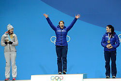 February 18, 2018 - Pyeongchang, South Korea - LIZZY YARNOLD of Great Britain celebrates getting the gold medal in the Women's Skeleton event in the PyeongChang Olympic Games. (Credit Image: © Christopher Levy via ZUMA Wire)
