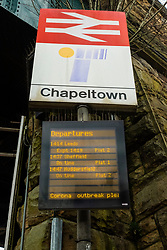 Chapeltown station sign Sheffield Monday 30 March 2020 Open air Gym equipment 7 Days after emergency measures were announced by Prime minister Boris Johnson on the evening of  Monday 23rd March<br /> <br /> 30 March 2020<br /> <br /> www.pauldaviddrabble.co.uk<br /> All Images Copyright Paul David Drabble - <br /> All rights Reserved - <br /> Moral Rights Asserted -