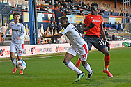 Rotherham United Defender Wes Harding (19)  and Luton Town Forward Elijah Adebayo (29)  battles for possession during the EFL Sky Bet Championship match between Luton Town and Rotherham United at Kenilworth Road, Luton, England on 4 May 2021.