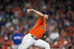 April 13, 2018 - Houston, TX, U.S. - HOUSTON, TX - APRIL 13: Houston Astros starting pitcher Gerrit Cole (45) delivers the pitch in the second inning during an MLB game between the Houston Astros and the Texas Rangers on April 13, 2018 at Minute Maid Park in Houston, TX.. (Photo by Juan DeLeon/Icon Sportswire) (Credit Image: © Juan Deleon/Icon SMI via ZUMA Press)