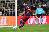 Il gol dell'1-0 di Luis Suarez Barcelona<br /> Goal Celebration Luis Suarez Barcelona<br /> Barcelona 24-11-2015 Stadio Camp Nou<br /> Football Calcio Champions League 2015/2016 <br /> Group Stage - Group E Barcelona - As Roma /  Barcellona - As Roma<br /> Foto Luca Pagliaricci / Insidefoto