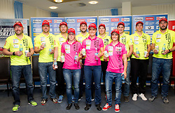 Uros Velepec, Janez Maric, Klemen Bauer, Anja Erzen, Jakov Fak, Teja Gregorin, Peter Dokl, Andreja Mali, Simon Kocevar, Lenart Oblak and Tomas Kos during media day of Slovenian biathlon team before new season 2013/14 on November 14, 2013 in Rudno polje, Pokljuka, Slovenia. Photo by Vid Ponikvar / Sportida