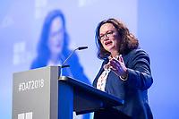 23 NOV 2018, BERLIN/GERMANY:<br /> Andrea Nahles, MdB, SPD Parteivorsitzende, haelt eine Rede, Deutscher Arbeitgebertag 2018, Vereinigung Deutscher Arbeitgeber, BDA, Estrell Convention Center<br /> IMAGE: 20181123-01-475