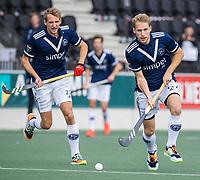 AMSTELVEEN -  Dennis Warmerdam (Pinoke) en Niklas Wellen (Pinoke)    tijdens   hoofdklasse hockeywedstrijd mannen,  AMSTERDAM-PINOKE (1-3) , die vanwege het heersende coronavirus zonder toeschouwers werd gespeeld.  COPYRIGHT KOEN SUYK