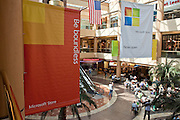 Oct. 22, 2009 -- SCOTTSDALE, AZ:  Banners hang in Scottsdale Fashion Square marking the opening of the new Microsoft store in the mall. Microsoft's first retail store opened in Fashion Square Mall in Scottsdale, AZ, Thursday. Microsoft's first foray into retail is widely considered to be a shot across the bow of Apple computers. The store's design is similar to Apple stores and the new Microsoft store is between two Apple stores, one in an upscale shopping mall five miles north of the Microsoft store, the other  in an upscale shopping area about 5 miles west of the Microsoft store. Microsoft used the occasion to officially launch the newest version of Windows 7, the newest version of Windows, Microsoft's flagship product.    Photo by Jack Kurtz
