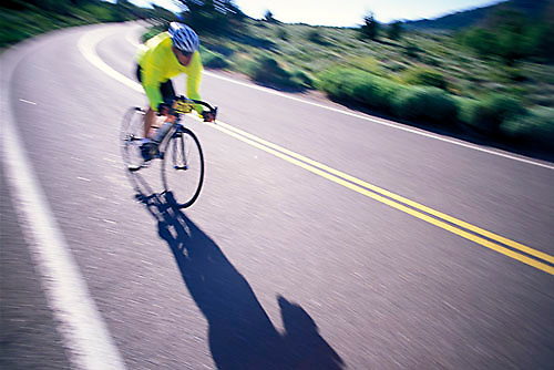 Unknown cyclist riding in the Death Ride near Lake Tahoe, CA<br />