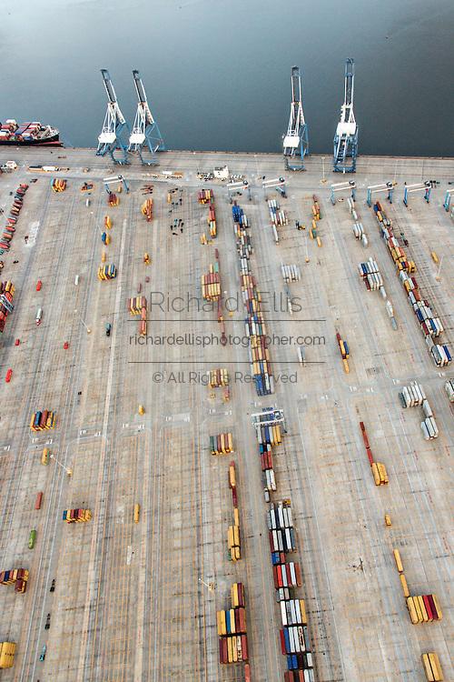 Aerial view of the Port of Charleston Wando Terminal in Charleston, SC.