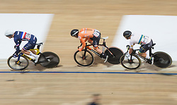February 28, 2019 - Pruszkow, Poland - Adrien Garel (FRA),Roy Eefting (NED),Samuel Welsford (AUS) on day two of the UCI Track Cycling World Championships held in the BGZ BNP Paribas Velodrome Arena on February 28, 2019 in Pruszkow, Poland. (Credit Image: © Foto Olimpik/NurPhoto via ZUMA Press)