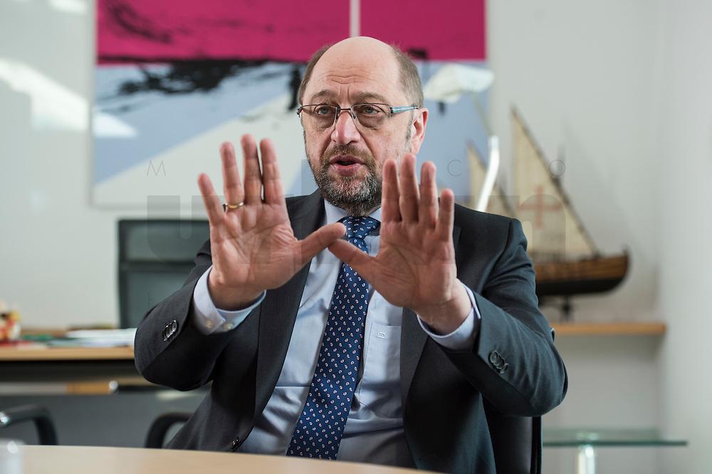 27 FEB 2017, BERLIN/GERMANY:<br /> Martin Schulz, SPD, desig. Parteivorsitzender und Kanzlerkandidat, waehrend einem Interview, in seinem Beuro, Willy-Brandt-Haus<br /> IMAGE: 20170227-01-010