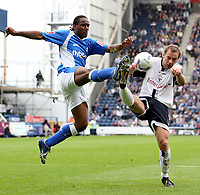 Photo: Paul Thomas.<br /> Preston North End v Birmingham City. Coca Cola Championship. 06/05/2007.<br /> <br /> Cameron Jerome (L) of Birmingham battles Liam Chilvers.