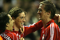 Photo: Paul Greenwood/Sportsbeat Images.<br />Liverpool v Fulham. The FA Barclays Premiership. 10/11/2007.<br />Liverpools Fernando Torres, (C) celebrates with Peter Crouch and Yossi Benayoun