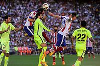 Atletico de Madrid´s Diego Godin and FC Barcelona´s Gerard Pique during 2014-15 La Liga match between Atletico de Madrid and FC Barcelona at Vicente Calderon stadium in Madrid, Spain. May 17, 2015. (ALTERPHOTOS/Luis Fernandez)