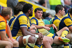 Jonny Arr of Worcester Warriors looks frustrated from the bench - Rogan Thomson/JMP - 03/09/2016 - RUGBY UNION - Twickenham Stadium - London, England - Saracens v Worcester Warriors - Aviva Premiership London Double Header.