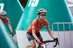 Kristabel Doebel-Hickok (USA) weaves through the buoys to sign on at Deakin University Elite Women Cadel Evans Road Race 2019, a 113 km road race starting and finishing in Geelong, Australia on January 26, 2019. Photo by Sean Robinson/velofocus.com