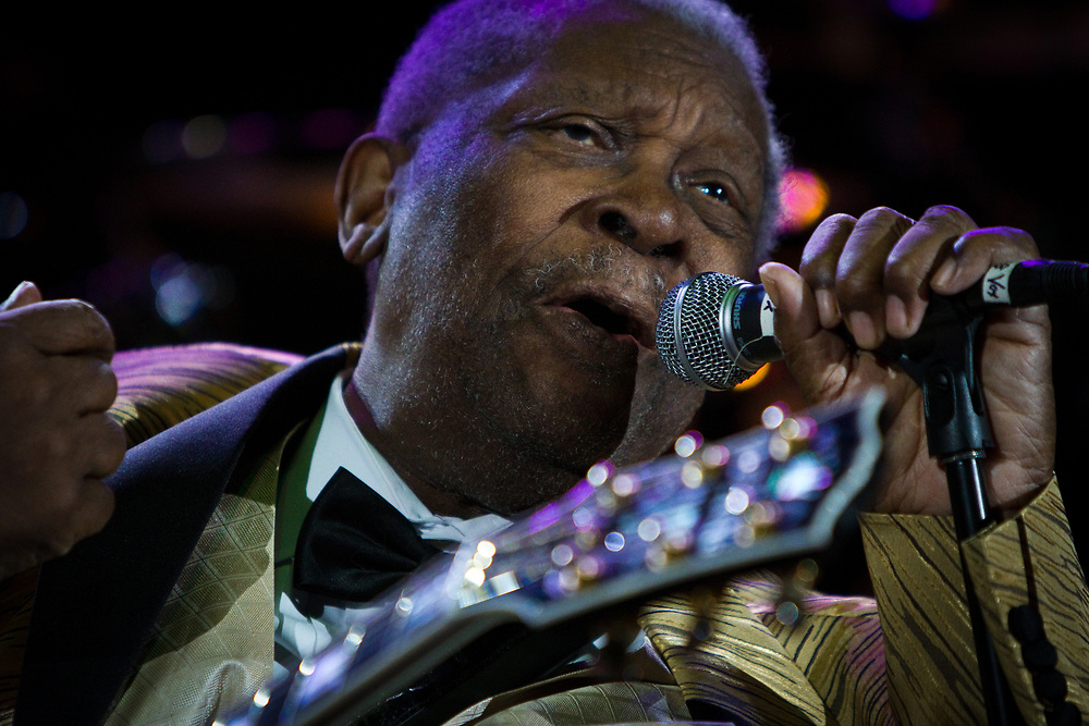Legendary blues guitarist and singer, and Rock and Roll Hall of Fame inductee, B.B. KING performs during the B.B. King Blues Festival at Red Rocks Amphitheater.