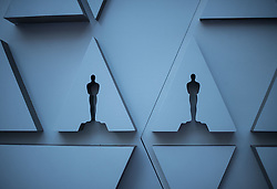 February 19, 2019 - Hollywood, California, U.S - A wall with the Oscar image is place on the Red Carpet during preparations for the 91st annual Academy Awards at the Dolby Theater in Hollywood, California on Tuesday, February 19, 2019. The Oscars will be presented on Sunday February 24, 2019. JAVIER ROJAS/PI (Credit Image: © Prensa Internacional via ZUMA Wire)