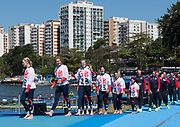 "Rio de Janeiro. BRAZIL   Women's Eights Final. Silver Medalist GBR W8+. Bow. Katie<br /> GREVES, Melanie  WILSON, Frances HOUGHTON, Polly  SWANN,  Jessica EDDIE,  Olivia CARNEGIE-BROWN, Karen BENNETT, Zoe LEE and  Zoe DE TOLEDO, 2016 Olympic Rowing Regatta. Lagoa Stadium, Copacabana,  ""Olympic Summer Games""<br /> Rodrigo de Freitas Lagoon, Lagoa. Local Time 11:40:27  Saturday  13/08/2016<br /> [Mandatory Credit; Peter SPURRIER/Intersport Images]"