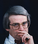 Washington, DC 1985/02/01 David Stockman,Director of the Office of Management and Budget, at a senate hearing.<br /><br />Photograph by Dennis Brack