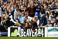 Photo: Chris Ratcliffe.<br />Tottenham Hotspur v Arsenal. The Barclays Premiership.<br />29/10/2005.<br />Gael Clichy is held back by Jermaine Jenas of Spurs.