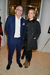 MICHAEL WOLFF biographer of Rupert Murdoch and his wife VICTORIA WOLFF at a talk by Geordie Greig about his book 'Breakfast With Lucian' held at Grace, 11c West Halkin Street, London on 22nd January 2014.