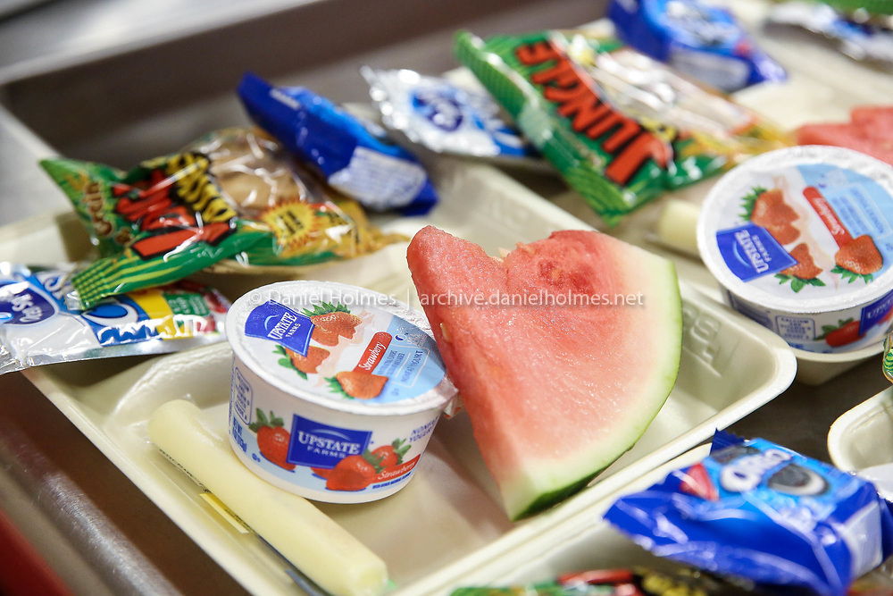 (8/1/17, MILFORD, MA) Watermelon, yogurt, and other healthy foods on offer during the Milford Fuel Your Fun Program at Memorial Elementary in Milford on Tuesday. [Daily News and Wicked Local Photo/Dan Holmes]