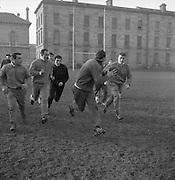 Irish Rugby Football Union, Ireland v France, Five Nations, French Trial, Dublin, Ireland, Friday 25th January, 1963,.25.1.1963, 1.25.1963,..Referee- F G Price, Welsh Rugby Union, ..Score- Ireland 5 - 24 France, ..Irish Team, ..T J Kiernan,  Wearing number 15 Irish jersey, Captain of the Irish team, Full Back, University college Cork Football Club, Cork, Ireland,  ..W R Hunter, Wearing number 14 Irish jersey, Right Wing, C I Y M S Rugby Football Club, Belfast, Northern Ireland, ..A C Pedlow, Wearing number 13 Irish jersey, Right Centre,  C I Y M S Rugby Football Club, Belfast, Northern Ireland, ..A J O'Reilly, Wearing number 12 Irish jersey, Left Centre, Old Belvedere Rugby Football Club, Dublin, Ireland,  ..P J Casey, Wearing number 11 Irish jersey, Left Wing, University College Dublin Rugby Football Club, Dublin, Ireland, ..J B Murray, Wearing number 10 Irish jersey, Stand Off, University College Dublin Rugby Football Club, Dublin, Ireland, ..J C Kelly, Wearing number 9 Irish jersey, Scrum Half, University College Dublin Rugby Football Club, Dublin, Ireland,..P J Dwyer, Wearing number 1 Irish jersey, Forward, University College Dublin Rugby Football Club, Dublin, Ireland, ..A R Dawson, Wearing number 2 Irish jersey, Forward, Wanderers Rugby Football Club, Dublin, Ireland, ..S Millar, Wearing number 3 Irish jersey, Forward, Ballymena Rugby Football Club, Antrim, Northern Ireland,..W A Mulcahy, Wearing number 4 Irish jersey, Forward, Bective Rangers Rugby Football Club, Dublin, Ireland,  ..W J McBride, Wearing number 5 Irish jersey, Forward, Ballymena Rugby Football Club, Antrim, Northern Ireland,..M D Kiely, Wearing number 6 Irish jersey, Forward, Landsdowne Rugby Football Club, Dublin, Ireland, ..C J Dick, Wearing number 8 Irish jersey, Forward, Ballymena Rugby Football Club, Antrim, Northern Ireland,..P J A O' Sullivan, Wearing  Number 7 Irish jersey, Forward, Galwegians Rugby Football Club, Galway, Ireland,..French Team, ..J P Razat, Wearing number 15 French jer