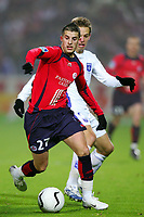 Fotball<br /> Frankrike<br /> Foto: Dppi/Digitalsport<br /> NORWAY ONLY<br /> <br /> FOOTBALL - FRENCH CHAMPIONSHIP 2006/2007 - LEAGUE 1 - LILLE OSC v AJ AUXERRE - 23/12/2006 - KEVIN MIRALLAS (LIL) / BENOIT PEDRETTI (AUX)