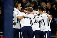 Serge Aurier of Tottenham Hotspur (in huddle) celebrates with his teammates after scoring his teams first goal. Premier league match, Tottenham Hotspur v Brighton & Hove Albion at Wembley Stadium in London on Wednesday 13th December 2017.<br /> pic by Steffan Bowen, Andrew Orchard sports photography.