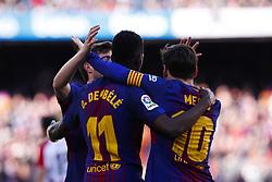 March 18, 2018 - Barcelona, Catalonia, Spain - March 18, 2018 - Camp Nou, Barcelona, Spain - LaLiga Santander- FC Barcelona v Athletic de Bilbao; Leo Messi of FC Barcelona and Ousmane DembŽlŽ of FC Barcelona celebrates the 2-0. (Credit Image: © Marc Dominguez via ZUMA Wire)