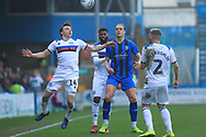 Ollie Rathbone wins a header during the EFL Sky Bet League 1 match between Gillingham and Rochdale at the MEMS Priestfield Stadium, Gillingham, England on 30 March 2019.