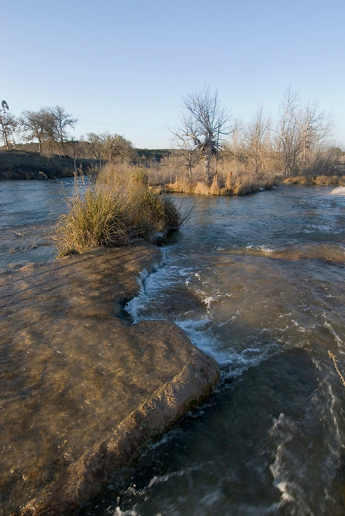 Telegraph, TX March 10, 2007: The south fork of the Llano River in Kimble County, TX is a picture of serenity.       ©Bob Daemmrich/