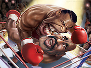 """Caricature: Iron Mike Tyson snacks on Evander Holyfield 's Ear. Photoshop for Melcher Media: """"The Pop-up Book of Celebrity Meltdowns"""" - as seen on CNN. See video: click """"The Pop Up Book of Celebrity Meltdowns"""" in list on the left."""