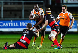 Cheetahs' Teboho Mohoje is tackled by Dragons' Sam Hobbs and Aaron Wainwright<br /> <br /> Photographer Craig Thomas/Replay Images<br /> <br /> Guinness PRO14 Round 18 - Dragons v Cheetahs - Friday 23rd March 2018 - Rodney Parade - Newport<br /> <br /> World Copyright © Replay Images . All rights reserved. info@replayimages.co.uk - http://replayimages.co.uk