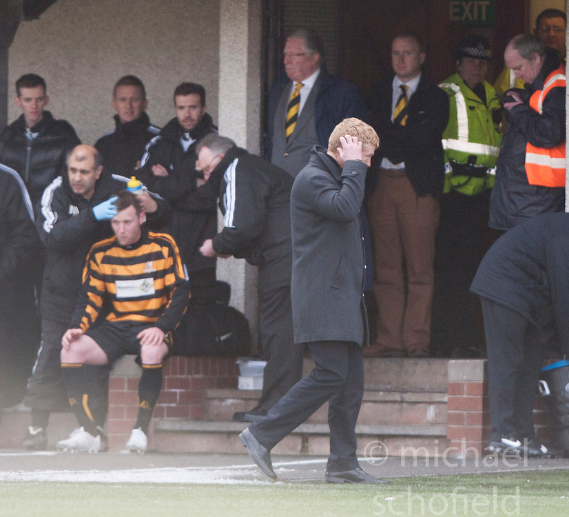 Falkirk's manager Gary Holt  after Phil Roberts threw some water after a second yellow card from ref George Salmond.<br /> Alloa Athletic 3 v 0 Falkirk, Scottish Championship game played today at Alloa Athletic's home ground, Recreation Park.<br /> © Michael Schofield.