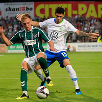 28.08.2019, Stadion Lohmühle, Luebeck, GER,  VFB Lübeck/Luebeck vs VfL Wolfsburg IIi<br /> <br /> DFB REGULATIONS PROHIBIT ANY USE OF PHOTOGRAPHS AS IMAGE SEQUENCES AND/OR QUASI-VIDEO.<br /> <br /> im Bild / picture shows<br /> Kresimir Matovina (VfB Luebeck) im Zweikampf gegen Michael Edwards VfL Wolfsburg II.<br /> <br /> Foto © nordphoto / Tauchnitz